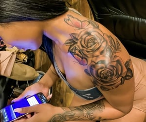 butterflies, roses, and Tattoos image