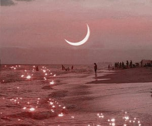 moon, beach, and aesthetic image
