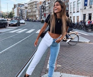 jeans, girl, and smile image