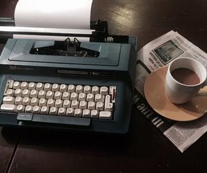 coffee, newspaper, and typewriter image