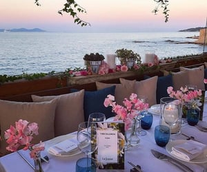 dinner, flowers, and sunset image