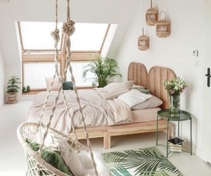 bedroom, bed, and green image