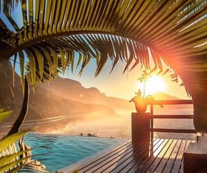 sunrise, tropical, and pool summer image