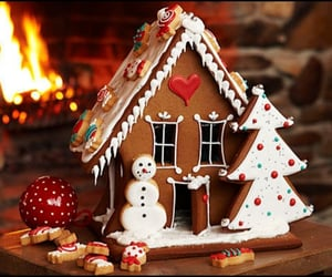 cold, gingerbread house, and star image