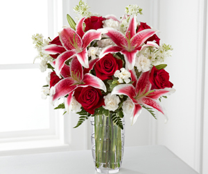 bouquet, lilies, and red image