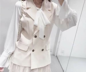 beige, suit jacket, and white image