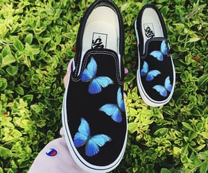 aesthetic, black shoes, and butterfly image