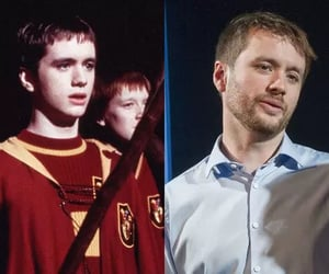 sean biggerstaff, oliver wood, and harry potter image