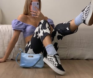long blonde hair, vans sneakers, and fashion style mode image