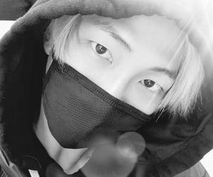 asian boy, black and white, and korean boy image
