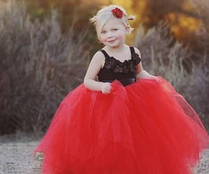 kids prom dress, cheap dress for girls, and red flower girl dress image