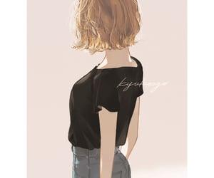 anime girl, artwork, and blonde image