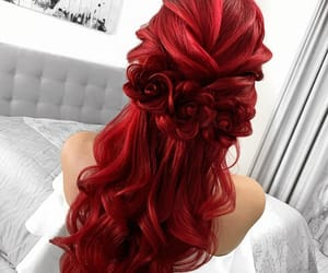 curly hair, wavy hair, and red hair image