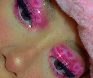 makeup, hearts, and pink image