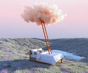 bed, Dream, and clouds image