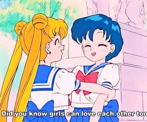 anime, girls, and rainbow image