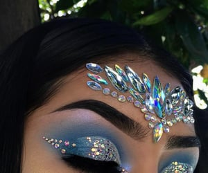 makeup, blue, and beauty image
