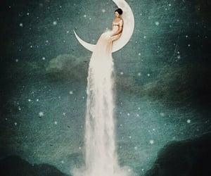 moon, girl, and stars image