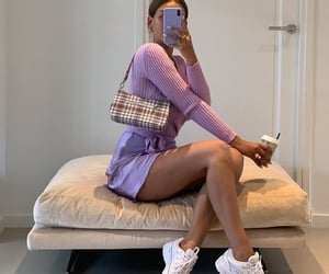 starbucks drink, purple outfit, and outfit of the day ootd image