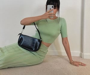 asian woman, maxi skirt, and green outfit image