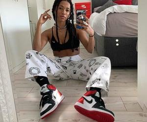 nike sneakers, hair hairstyles, and mirror selfie image