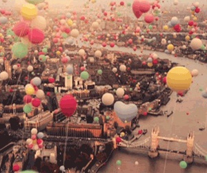 balloons, london, and city image