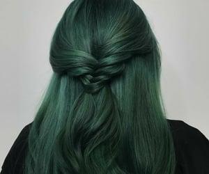 hair, braid, and green image