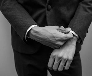 hands, black and white, and man image