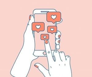 likes, phone, and social media image
