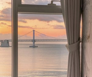 views, bridge, and sunset image