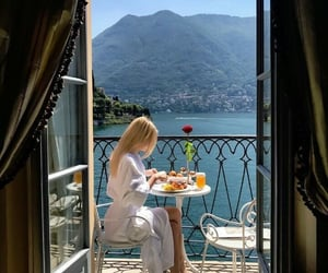 breakfast, girl, and travel image