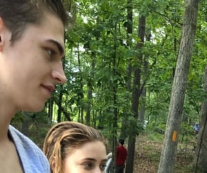 couple, tessa young, and hero fiennes tiffin image