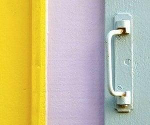 door, purple, and yellow image