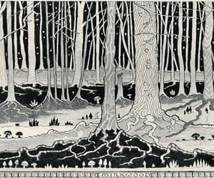 drawing, painting, and woods image