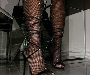 black, fishnet tights, and high heels image