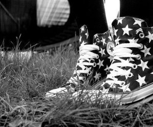 converse, stars, and black and white image