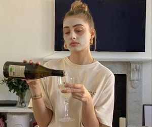 girl, drink, and wine image