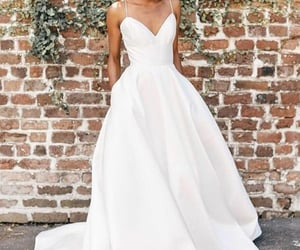 wedding dress, bridal dress, and v neck wedding dress image