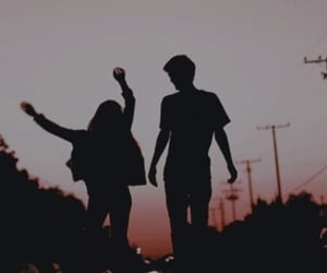 couple, sunset, and silhouette image