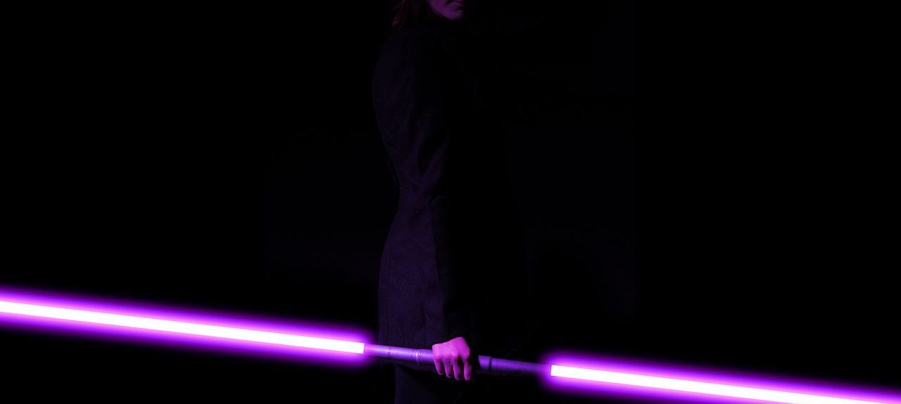 girl, lightsaber, and purple image