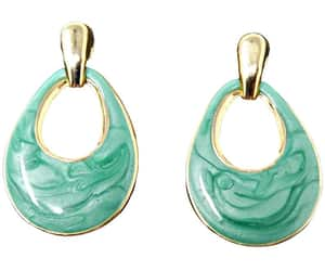 etsy, doorknocker earrings, and gold and green image