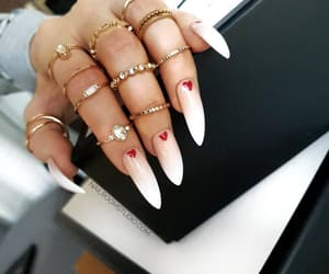 etsy, glue on nails, and nude stiletto nails image