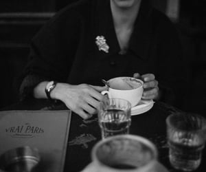 alone, black and white, and coffee image