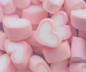 pink, marshmallow, and heart image