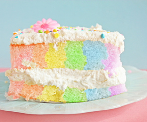 cake, rainbow, and food image