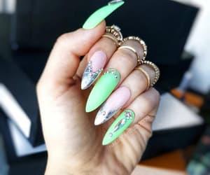 etsy, glue on silver nails, and chrome false nails image