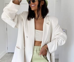 blogger, outfit, and white blazer image