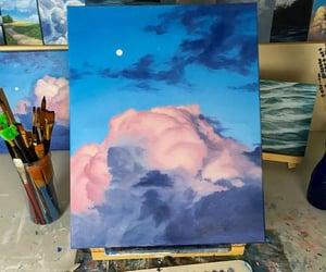 art, sky, and blue image