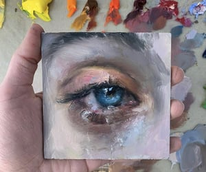 art, blue eye, and canvas image