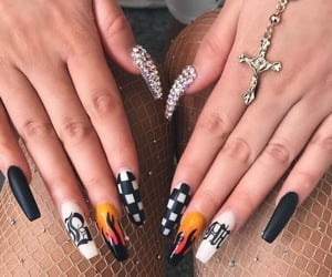 flame, nails, and back&white image